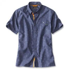 Orvis Printed Tech Ss Shirt - Chambray